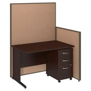 Bush Business Furniture 48W C-Leg Desk and 3 Drawer Mobile Pedestal with ProPanels, Harvest Tan (PPC024HT)