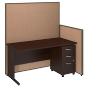 Bush Business Furniture 60W C-Leg Desk and 3 Drawer Mobile Pedestal with ProPanels, Harvest Tan (PPC023HT)