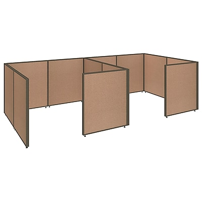 Bush Business Furniture ProPanels 2 Person Closed Cubicle Office, Harvest Tan (PPC013HT)