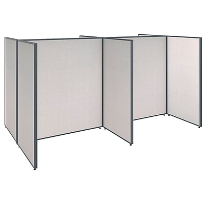 Bush Business Furniture ProPanels 4 Person Open Cubicle Office, Light Gray (PPC005LG)