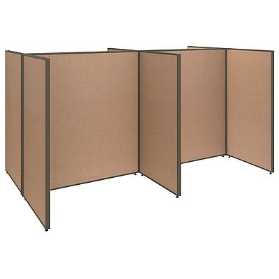 Bush Business Furniture ProPanels 4 Person Open Cubicle Office, Harvest Tan (PPC005HT)
