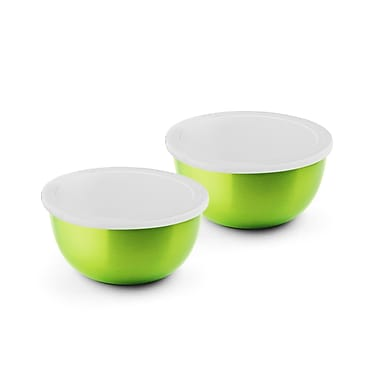 Bonita Micro Wonder Microwave Safe Stainless Steel 2 Food Storage Container Set; Green
