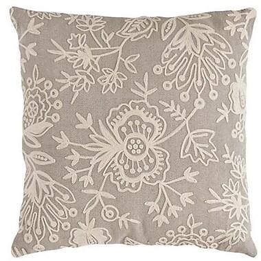 Fresh American Flora Crewel Indoor/Outdoor Throw Pillow; Platinum
