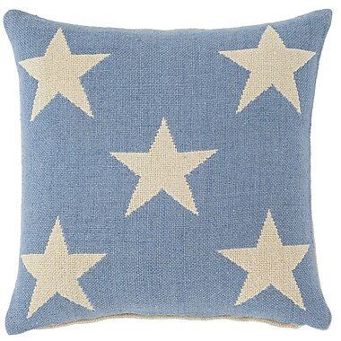 Fresh American Star Indoor/Outdoor Throw Pillow; French Blue / Ivory