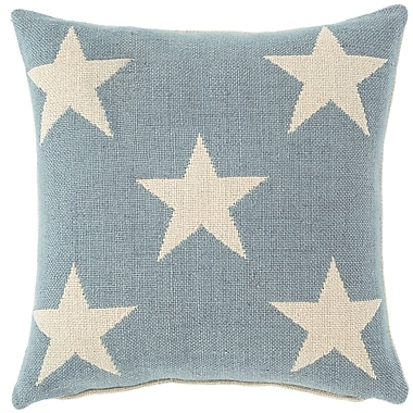 Fresh American Star Indoor/Outdoor Throw Pillow; Swedish Blue / Ivory