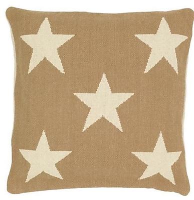 Fresh American Star Indoor/Outdoor Throw Pillow; Camel / Ivory