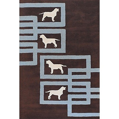 Chandra Avalisa Brown/Blue Area Rug; 2' x 3'