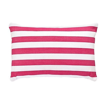 Fresh American Trimaran Indoor/Outdoor Lumbar Pillow; Fuchsia / White