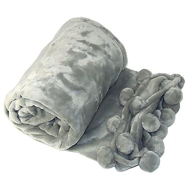 BOON Throw & Blanket Flannel Fleece Pom Pom Throw Blanket; Silver Gray