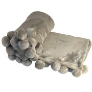 BOON Throw & Blanket Flannel Fleece Pom Pom Throw Blanket; Light Gray