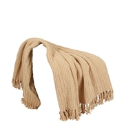 BOON Throw & Blanket Space Yarn Knitted Throw Blanket; Light Camel