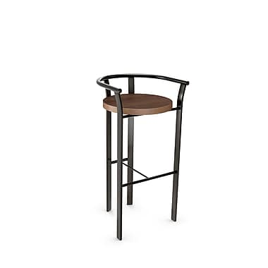 Amisco (40235-26WE/1B5187) Rendezvous Metal Counter Stool with Distressed Wood Seat, Gun Metal Finish/Medium Brown
