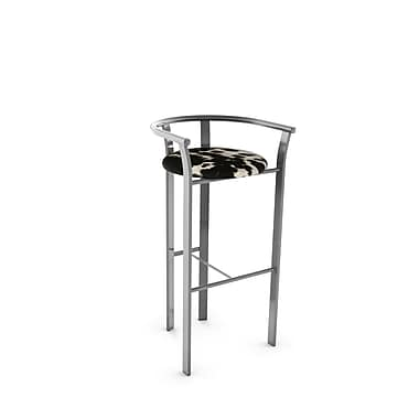 Amisco (40465-30WE/1B24GNF4) Lolo Metal Barstool, Glossy Grey/Soft Black/White Faux Cowhide