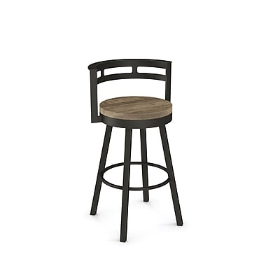Amisco (41243-26WE/1B7586) Vector Swivel Metal Counter Stool with Distressed Wood Seat, Textured Dark Brown/Beige