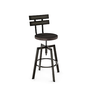 Amisco (41262-WE/1B5184) Rawdon Screw Metal Stool With Distressed Wood Seat, Gun Metal Finish/Medium Dark Grey