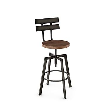 Amisco – Tabouret à vis en métal Rawdon avec siège en bois vieilli, gris métallique/brun moyen (41262-WE/1B5187)