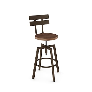 Amisco (41262-WE/1B7487) Rawdon Screw Metal Stool With Distressed Wood Seat, Hammered Medium Brown/Medium Brown