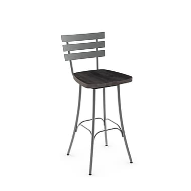 Amisco (41266-30WE/1B2484) Stadium Swivel Metal Barstool with Distressed Wood Seat, Glossy Grey/Medium Dark Grey