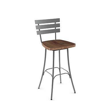 Amisco (41266-30WE/1B2487) Stadium Swivel Metal Barstool with Distressed Wood Seat, Glossy Grey/Medium Brown