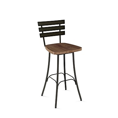 Amisco (41266-30WE/1B5187) Stadium Swivel Metal Barstool with Distressed Wood Seat, Gun Metal Finish/Medium Brown