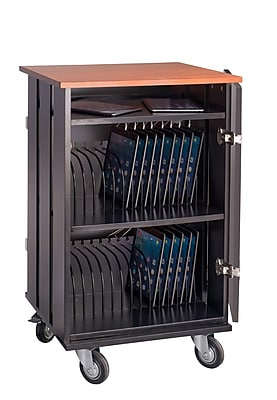 Oklahoma Sound Steel Tablet Storage and Charging Cart, 32-Tablet Capacity, Cherry Top (TCSC-32)
