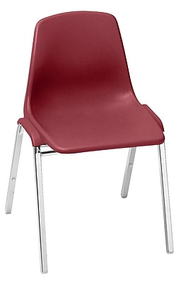 National Public Seating 8100 Series Steel Frame Poly Shell Stack Chair, Burgundy 80/Pack (8118/80)
