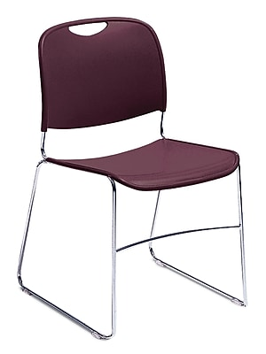 National Public Seating 8500 Series Steel Frame Compact Plastic Stack Chair, Burgundy 40/Pack (8508-NB/40)