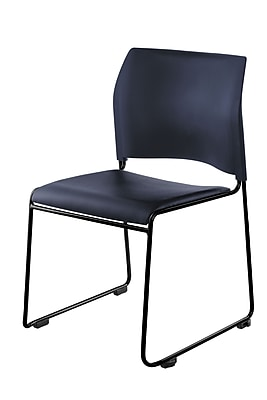 National Public Seating 8700 Series Steel Frame Vinyl Padded Stack Chair, Blue 80/Pack (8704-10-04NB80)