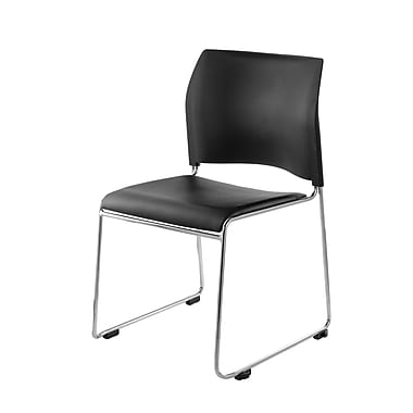 National Public Seating 8700 Series Steel Frame Vinyl Padded Stack Chair, Black 20/Pack (8710-11-10NB20)
