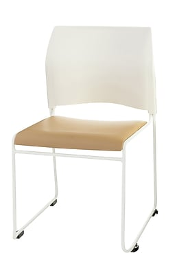 National Public Seating 8700 Series Steel Frame Vinyl Padded Stack Chair, Beige 20/Pack (8721-01-21NB20)