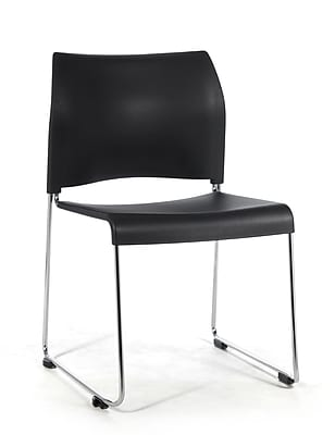 National Public Seating 8800 Series Steel Frame All Poly Stack Chair, Black 20/Pack (8810-11-10NB20)