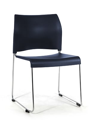 National Public Seating 8800 Series Steel Frame All Poly Stack Chair, Blue 40/Pack (8804-11-04NB40)