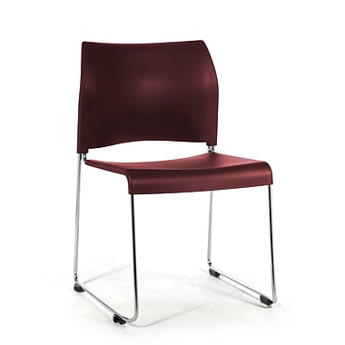 National Public Seating 8800 Series Steel Frame All Poly Stack Chair, Burgundy 80/Pack (8818-11-18NB80)