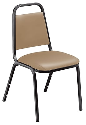 National Public Seating 9100 Series Steel Frame Vinyl Padded Stack Chair, Beige 80/Pack (9101-B-NB/80)