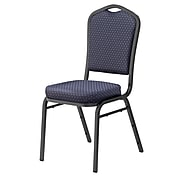 NPS #9364-SV Silhouette-Back Fabric Padded Stack Chair, Diamond Navy/Silvervein - 80 Pack