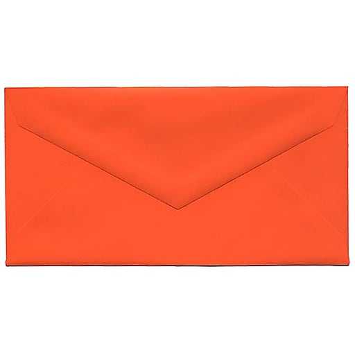 JAM Paper® Monarch Colored Envelopes, 3.875 x 7.5, Orange Recycled, Bulk 500/Box (34097575H)