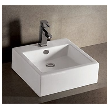Whitehaus Collection Isabella W Square Vessel Bathroom Sink w/ Overflow