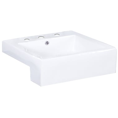 American Imaginations Xena Farmhouse Ceramic Rectangular Vessel Bathroom Sink w/ Faucet and Overflow