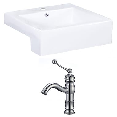 American Imaginations Xena Farmhouse Rectangular Bathroom Vessel Sink w/ Overflow