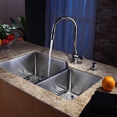 Kraus Stainless Steel 32'' x 20'' Double Basin Undermount Kitchen Sink w/ Faucet and Soap Dispenser