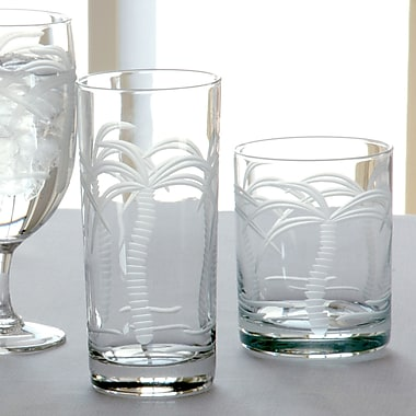 Rolf Glass Palm Tree 14 Oz Double Old Fashioned Glass (Set of 4)