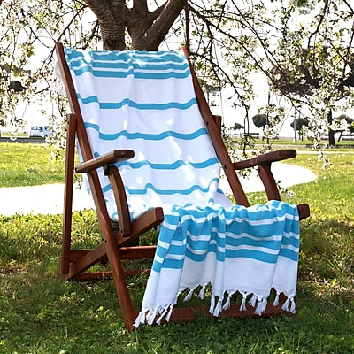 Linum Home Textiles Herringbone Weave Cotton Pestemal Bath Towel; Turquoise