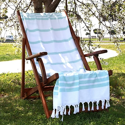 Linum Home Textiles Herringbone Weave Cotton Pestemal Bath Towel; Soft Aqua