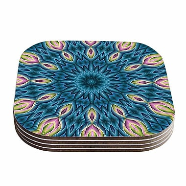 KESS InHouse Zapped Coaster (Set of 4); Blue / Teal