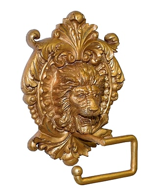 Hickory Manor House Wall Mounted Lion Medallion Plaque Wall Mounted Toilet Paper Holder; Baroque