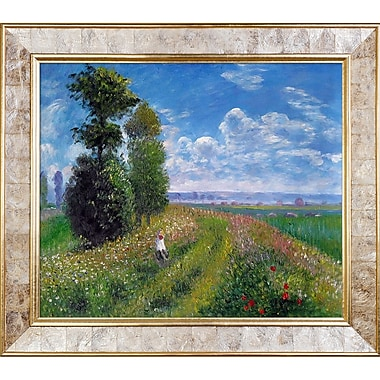 Tori Home Field w/ Poplars by Monet Painting Print on Canvas