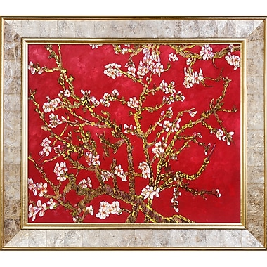 La Pastiche 'Branches of an Almond Tree' by Vincent Van Gogh Framed Painting Print on Wrapped Canvas