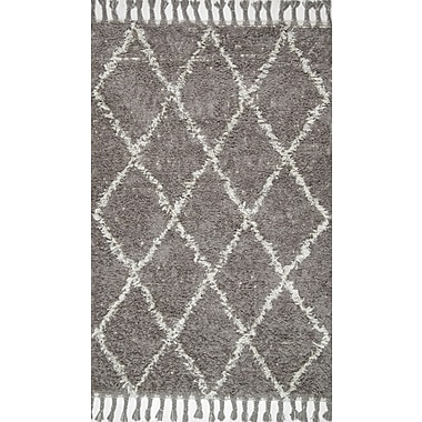 nuLOOM Gizon Hand-Knotted Gray Area Rug; Rectangle 5' x 8'
