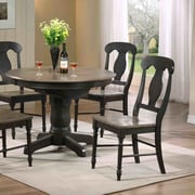 Iconic Furniture Napoleon Solid Wood Dining Chair (Set of 2); Grey Stone / Black Stone