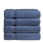 Vivendi Cotton Bath Towel (Set of 4); Blue